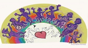 Art of 8 people dancing in front of a rainbow, three seated and five standing; below is a heart, humminbird and music notes