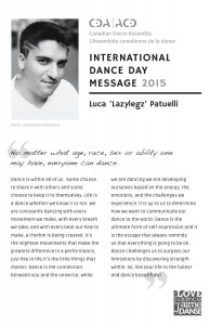 Image of the International Dance Day Message, with a photo of it's author's face and shoulders.