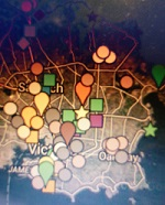 Background is a map with roads; foreground has various location markers: circles and squares of different colours.