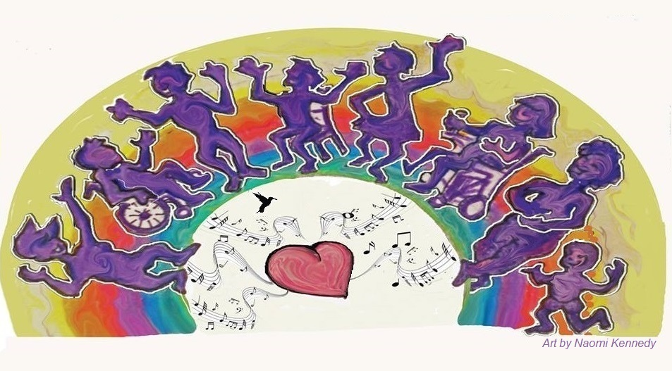Art of eight people's purple silhouettes in a semicircle with their arms out. Three people dance seated, using a manual wheelchair, chair and power wheelchair, and five people dance standing. Behind the dancers there is a colourful rainbow sunset, with green under their feet, then blue, purple, red, orange and a wider semicircle of pastel yellow. Below the dancers there is a heart in the middle, surrounded by wavy lines of music notes, and a silhouette of a small hummingbird.