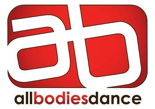 Logo for all bodies dance with stylized white a and b letters on a red background
