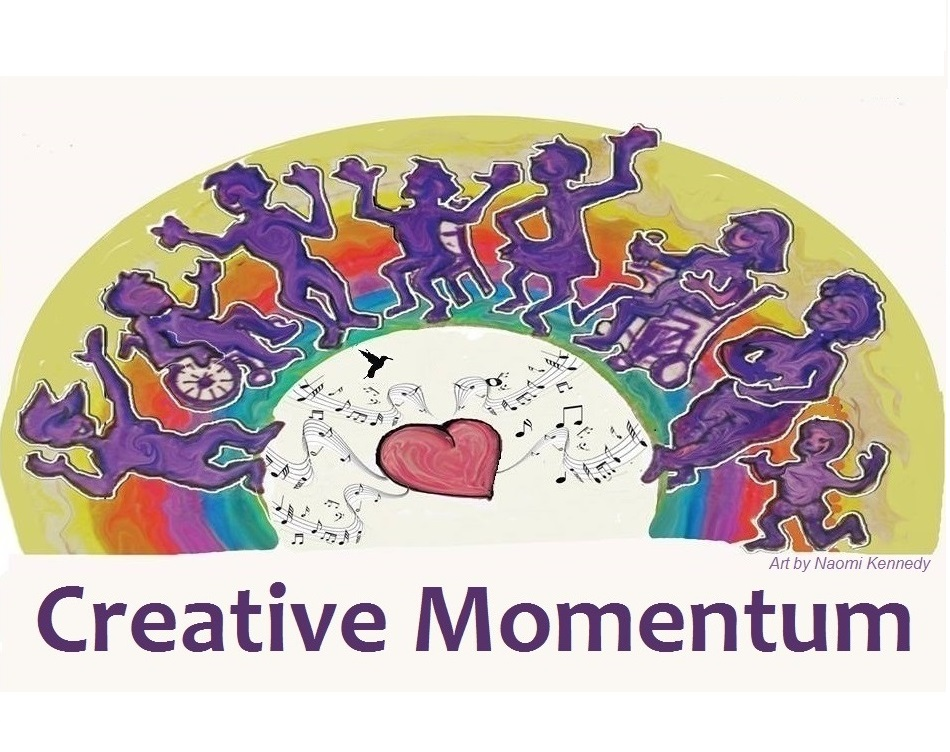 Logo of Creative Momentum of eight people dancing. Three are sitting and five standing.