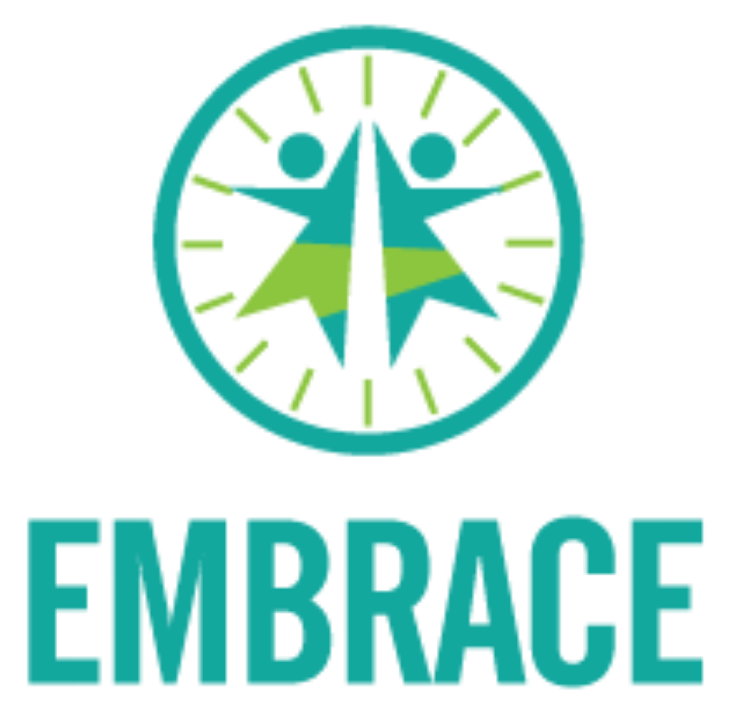 Logo for Embrace with a stylized wheel and two people reaching up.
