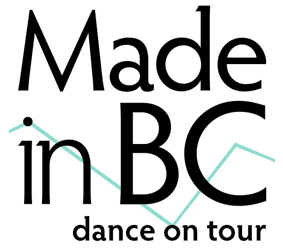Logo for Made in BC dance on tour with a pastel blue zig zag