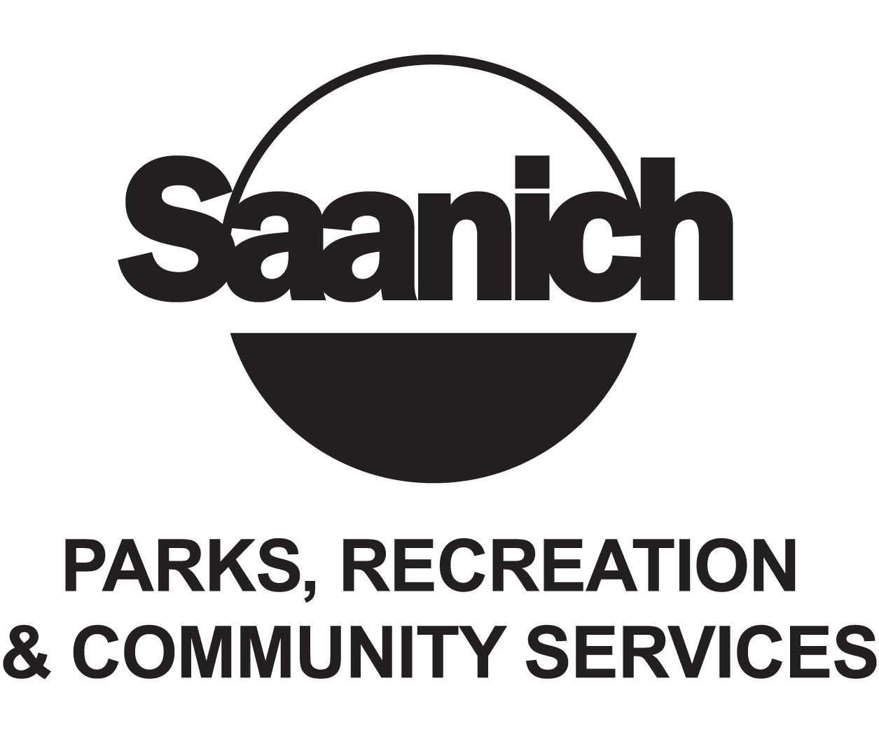 Logo for Saanich Parks, Recreation and Community Services with a black circle
