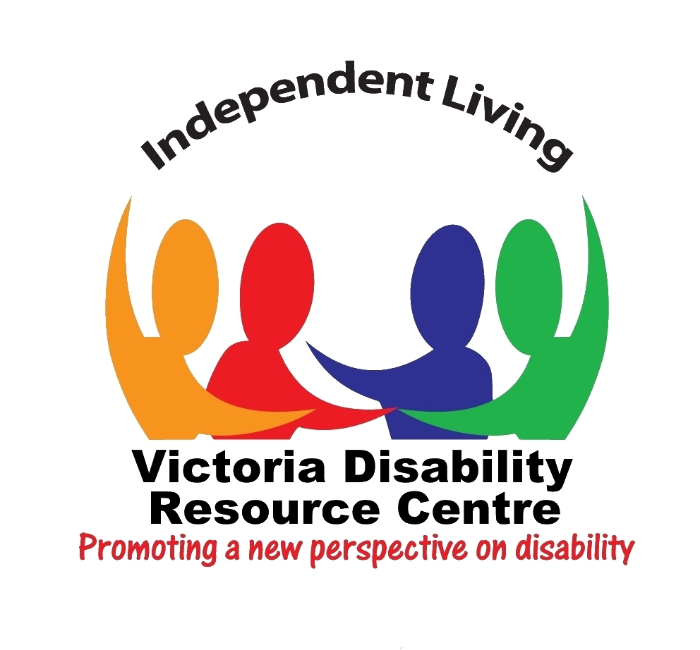 Logo for Victoria Disability Resource Centre with four people stretching arms towards each other.
