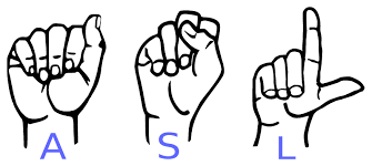 Icon of three hands signing A S L