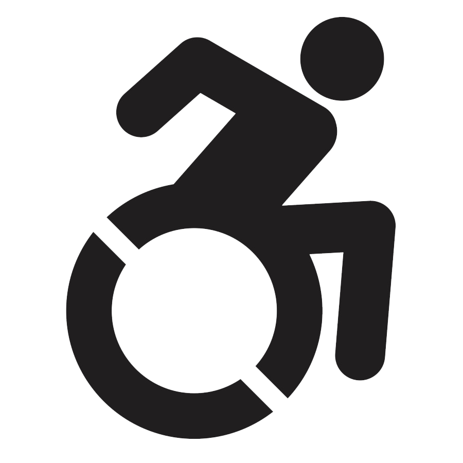 Accessible icon, of a wheelchair user in motion