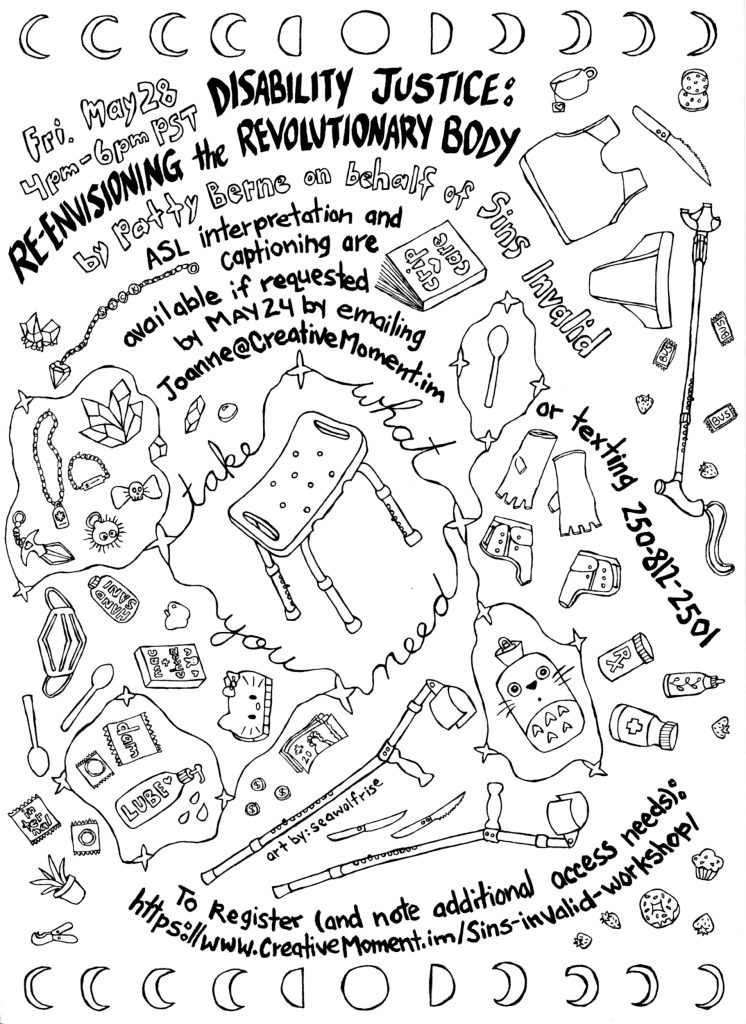 Colouring page version of poster by SeaWolfRise with drawings of a multitude of access tools. Black line drawings and text with the same event details as the web page.
