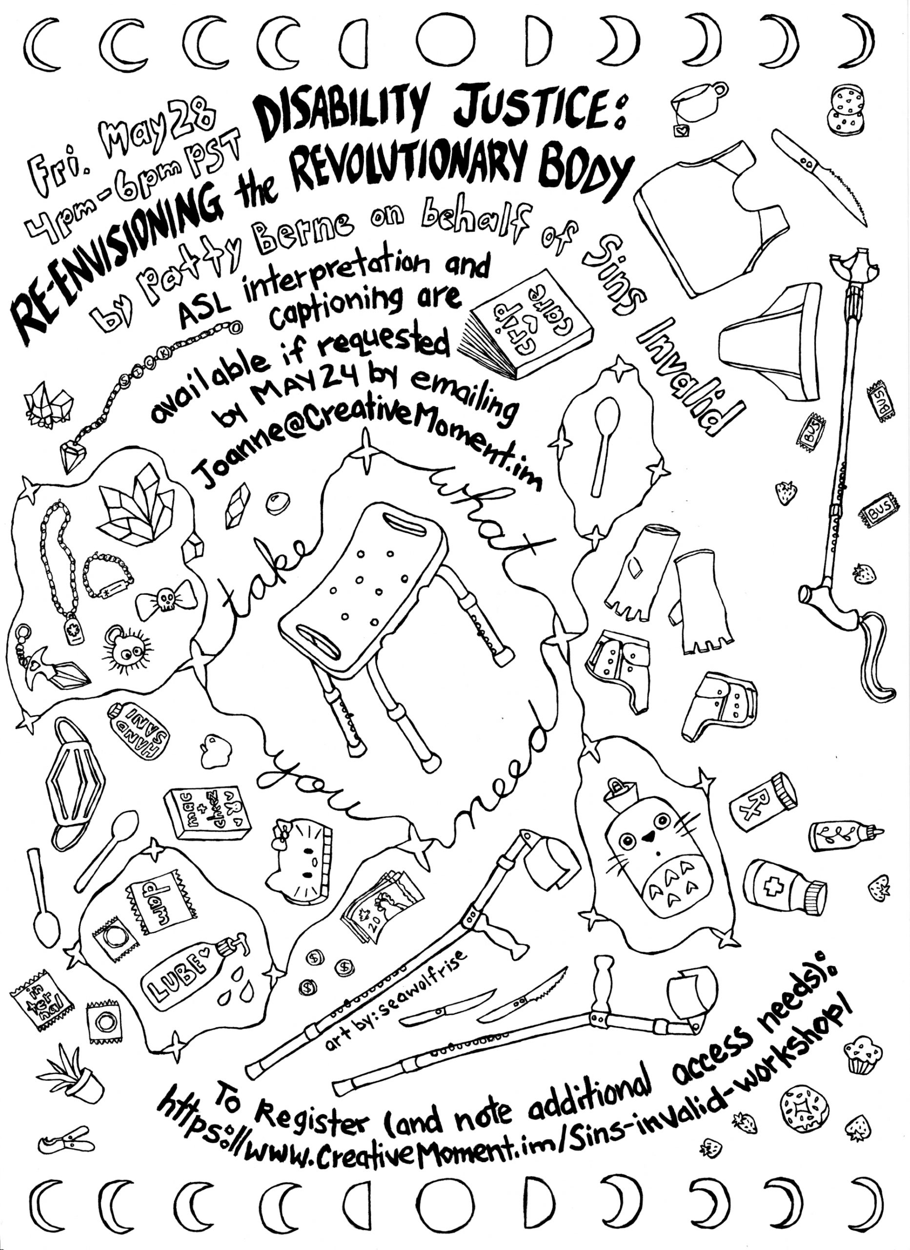 Colouring page version of poster by SeaWolfRise with drawings of a multitude of access tools and supports. Same image description as the poster above, except this version has black line drawings on a white background.