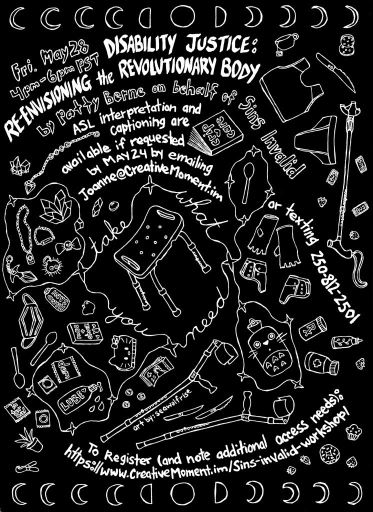 Workshop poster by SeaWolfRise with drawings of a multitude of access tools. Black background and white line drawings and text with the same event details as the web page.